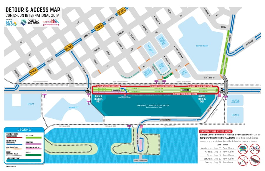 SDCC 2019 Pedestrian-Only Road Closures Sdcc Map on halloween map, otakon map, pax map, thundercats map, transformers map, convention map, sandman map, the dark knight map, tron map, thanksgiving map, tmnt map, black widow map, avengers map, spiderman map,